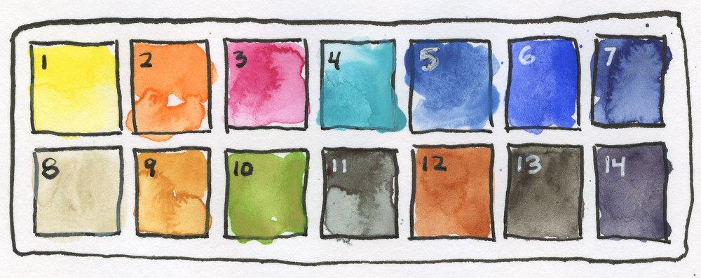 !4 color urban sketching watercolor palette