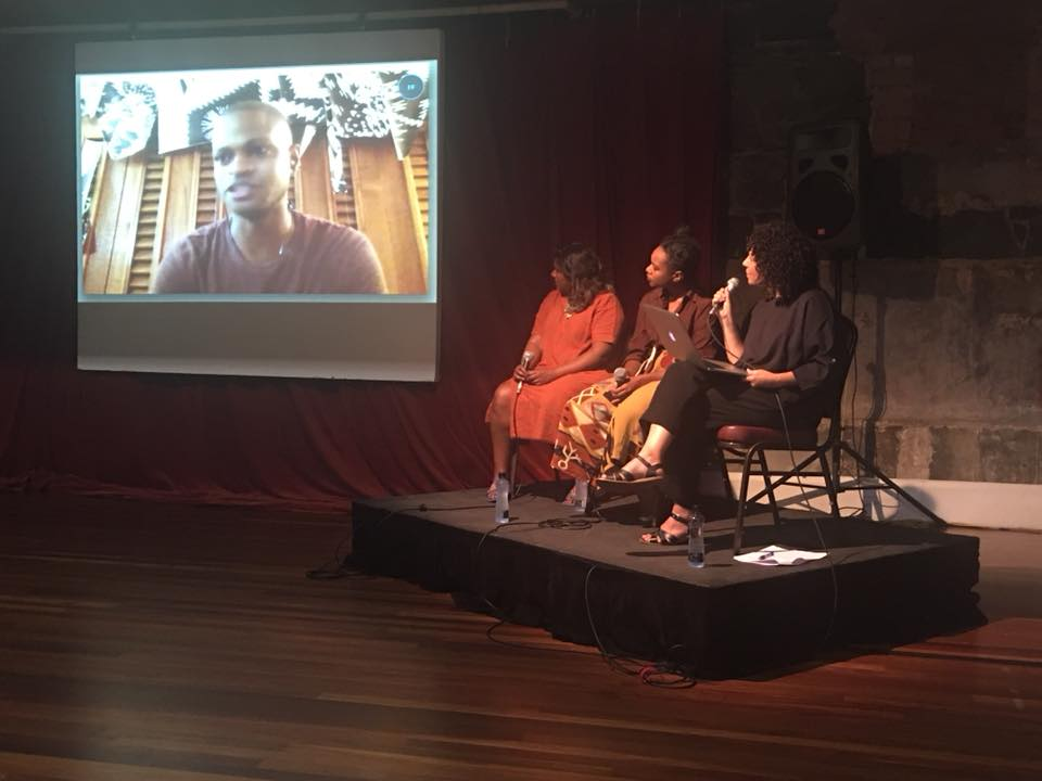L-R Rodell Warner (on screen), Shivanjani Lal, Emele Ugavule and Torika Bolatagici in coversation at Footscray Community Arts Centre, Saturday 18th November 2017. Photo credit: Pauline Vetuna.