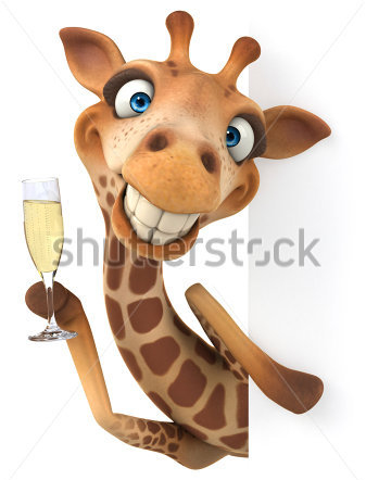 Giraffe celebrating with champagne.