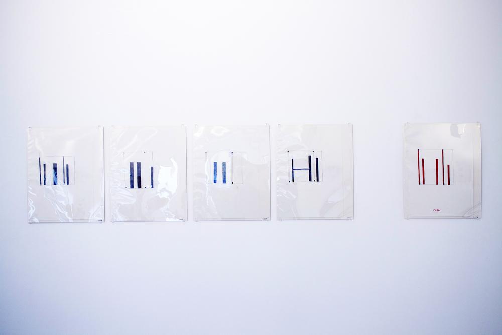 Peter Märkli, untitled drawings, 2000-2013, pastel on paper, 21 x 29,7 cm each