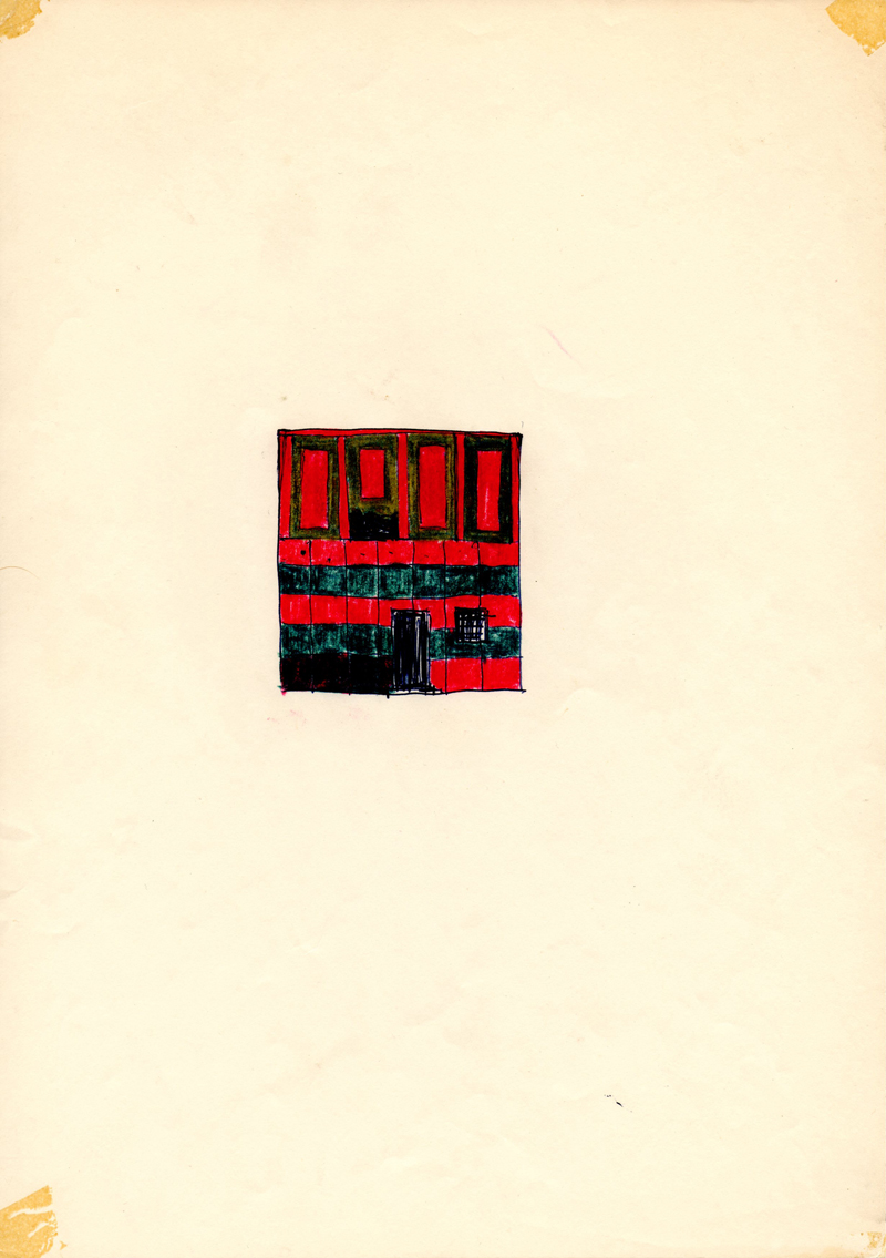 1005, 1980-1999, pastel and pen on paper, 21 x 29,7 cm