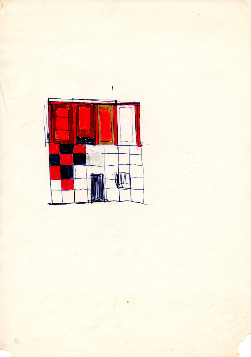 1007, 1980-1999, pastel and pen on paper, 21 x 29,7 cm