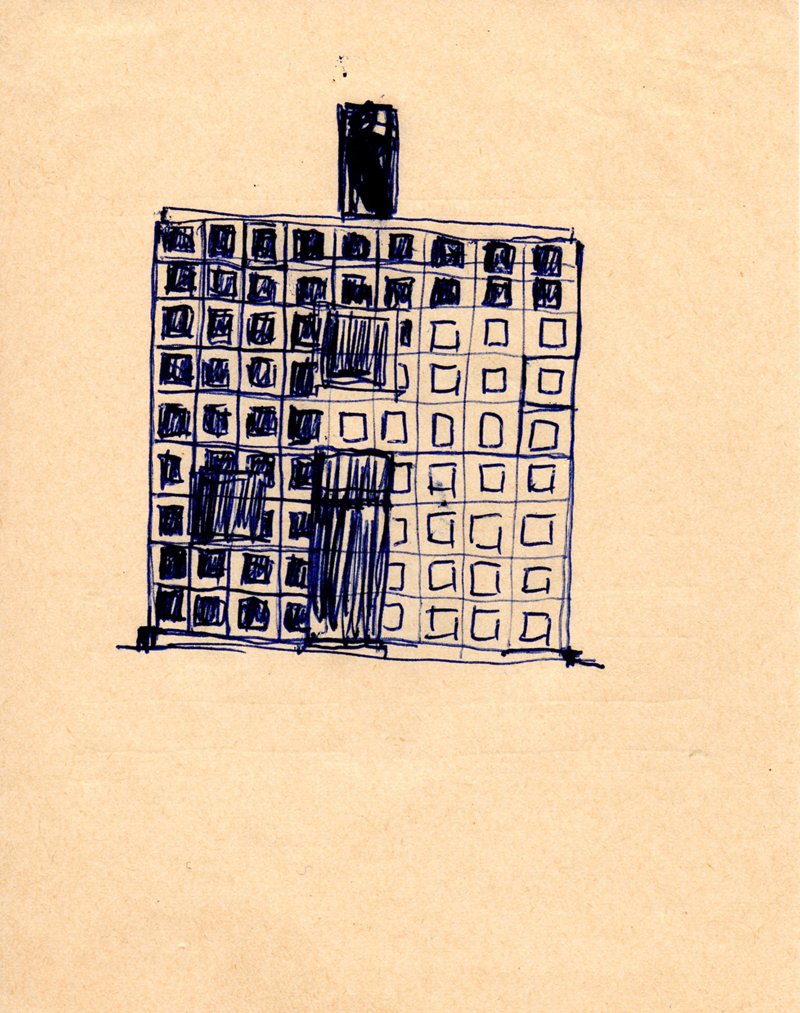 1121, 1980-1999, pen on paper, 12,2 x 15,4 cm