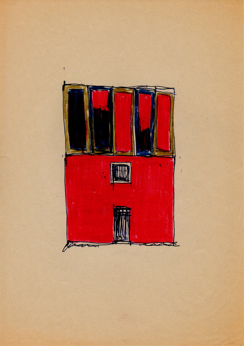 1004, 1980-1999, pastel and pen on paper, 21 x 29,7 cm