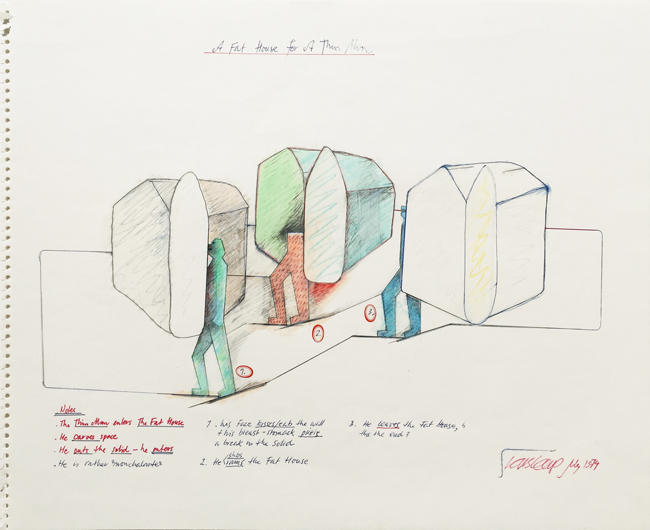 A Fat House for a Thin Man 4, 1974, mixed media, 38x46.5cm.