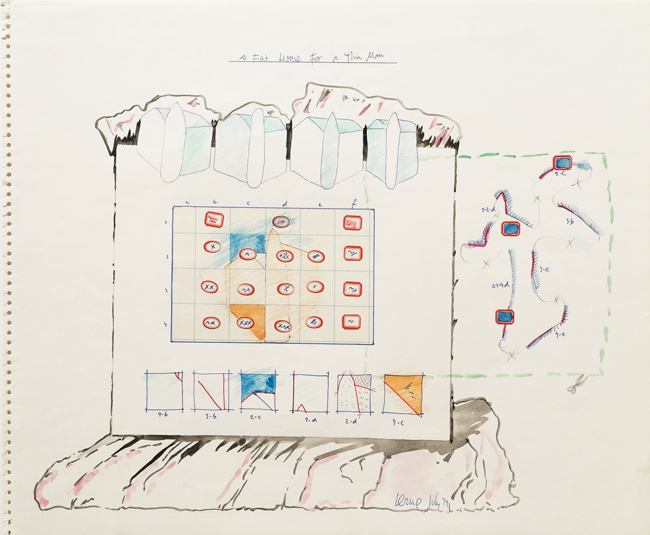 A Fat House for a Thin Man 5, 1974, mixed media, 38x46.5cm.