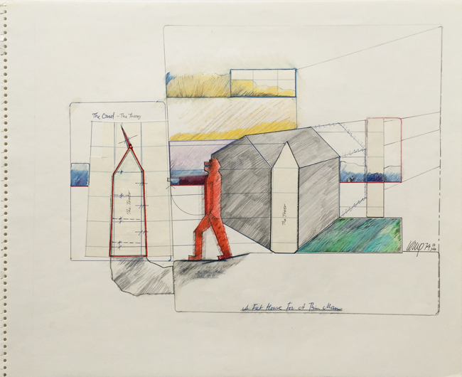 A Fat House for a Thin Man 8 , 1974, mixed media, 38x46.5cm.