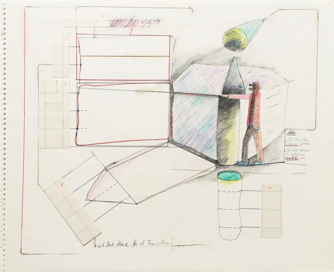 A Fat House for a Thin Man 9 , 1974, mixed media, 38x46.5cm.