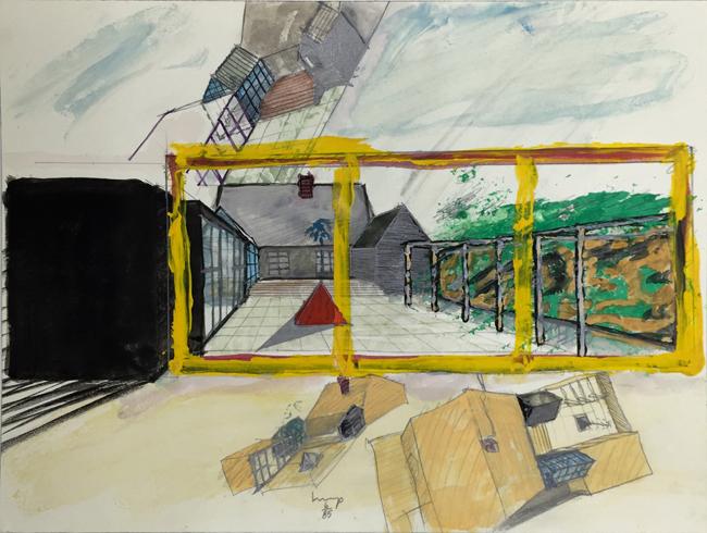 1234 House - 7 , 1985, gouache, 18 x 24 cm