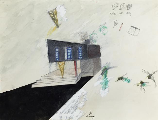 1234 House - 8 , 1985, gouache, 18 x 24 cm