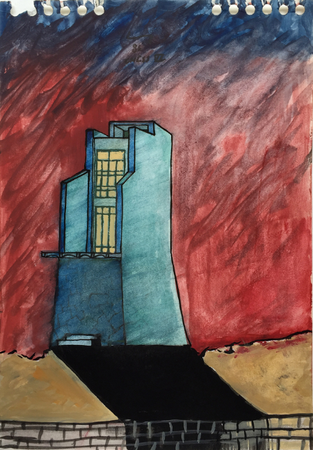 Cadaques - 5 , 1986, gouache, 23 x 16 cm