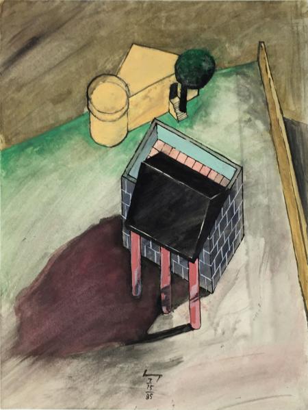 Lukamanier Pass - 1 , 1985, gouache, 24 x 18 cm