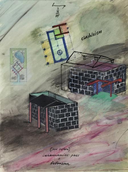 Lukamanier Pass - 7 , 1985, gouache, 24 x 18 cm