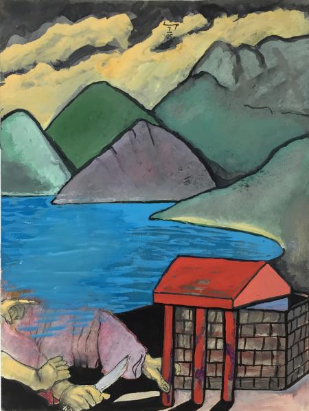 Lukamanier Pass - 8 , 1985, gouache, 24 x 18 cm