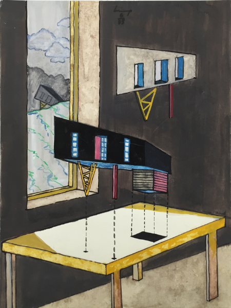 1234 House - 4 , 1985, gouache, 24 x 18 cm