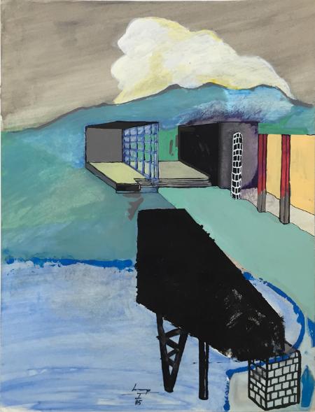 1234 House - 5 , 1985, gouache, 24 x 18 cm