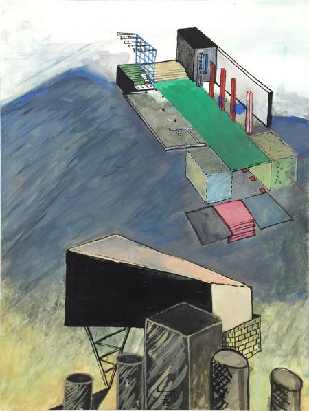 1234 House - 6 , 1985, gouache,24 x 18 cm