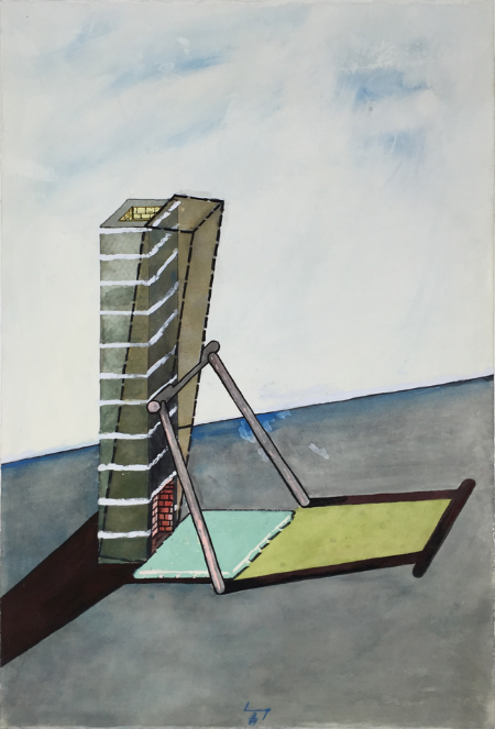 Leaning Fireplace , 1989, gouache, 57 x 38 cm