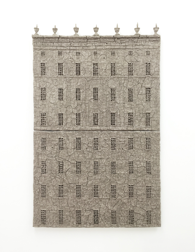 Untitled, 2014, unfired clay, 135 x 83 cm