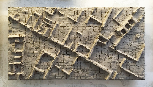 Untitled-8 , 2014, unfired clay, 26 x 48 cm