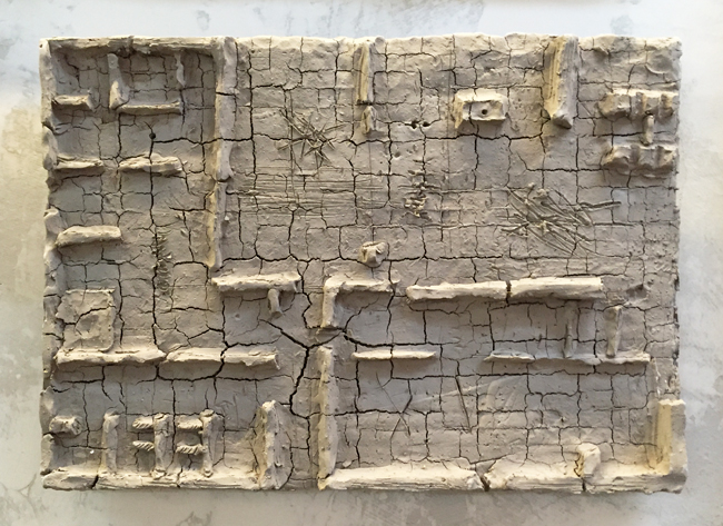 Untitled-13 , 2014, unfired clay, 26 x 36 cm