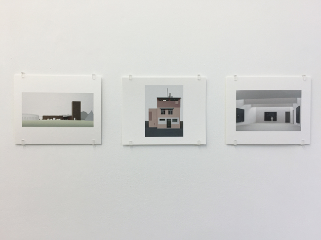 Exhibition view, from left to right: Herning Art Museum (2005), Nagelhaus Zürich (2007-2010), Newport Street Gallery (2004-2015), photographs, 2017, 16.8 x 21 cm, each is an edition of 7.