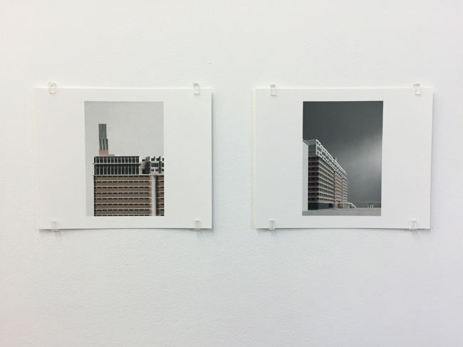 Exhibition view: Veemgebouw Eindhoven (2007-2010), two different perspectives, photographs, 2017, 16.8 x 21 cm, each is an edition of 7