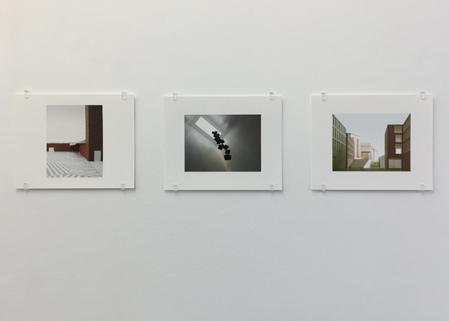 Exhibition view, from left to right: exterior and interior of Herning Art Museum (2005), Musée cantonal des Beaux-Arts Lausanne (2011), photographs, 2017, 16.8 x 21 cm, each is an edition of 7