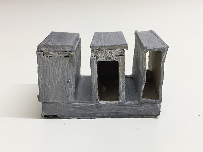 Study model for Novartis building, paint and cardboard, 34 x 55 x 34 mm