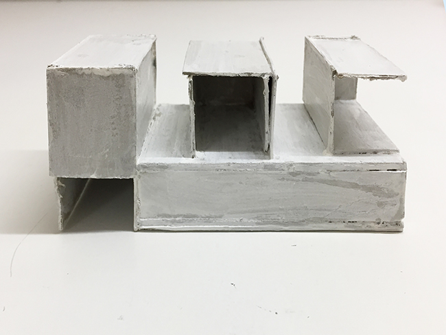 Study model for Novartis building, paint and cardboard, 55 x 120 x 55 mm