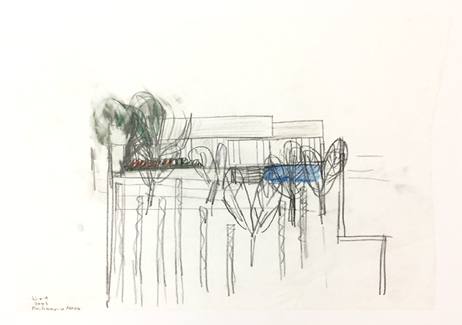 Valadas-facade with plants , 2006 ,  pastel on tracing paper, 33 x 51 cm
