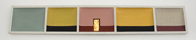 Bas relief , 2017, lime, paint, gold leaf and wood, 24 x 145 x 4 cm