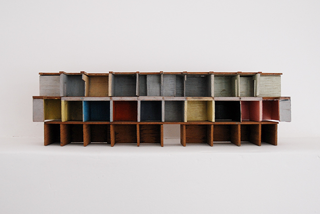 Demolition model , 2014, wood and paint, 30 x 6.5 x 9 cm