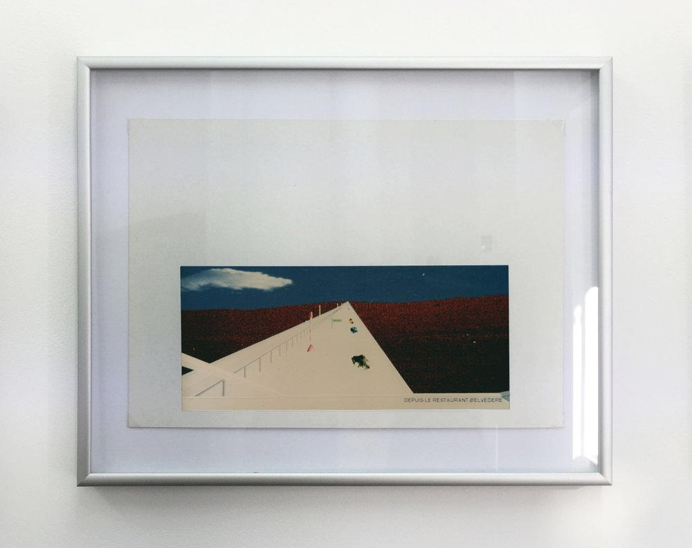 Millau Viaduct - View from the Resto , 1994, computer drawing printed on photo paper, cardboard