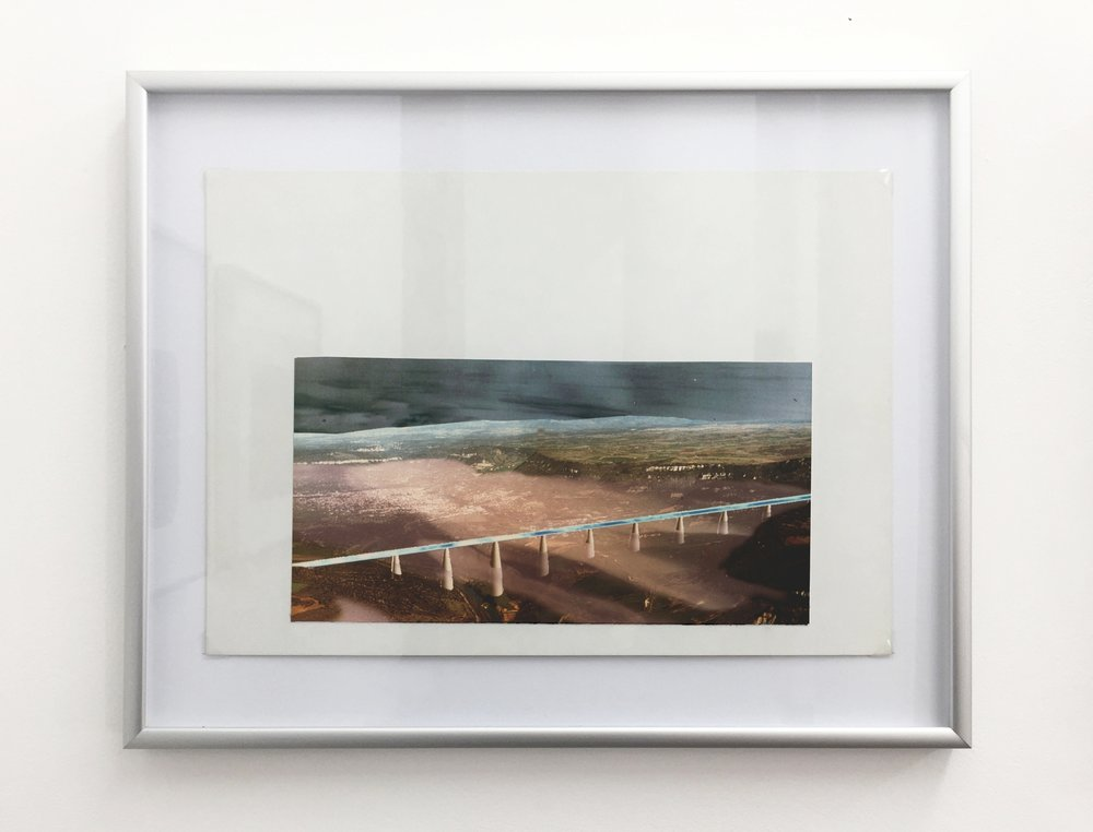 Millau Viaduct - Fog , 1994, computer drawing printed on photo paper, cardboard