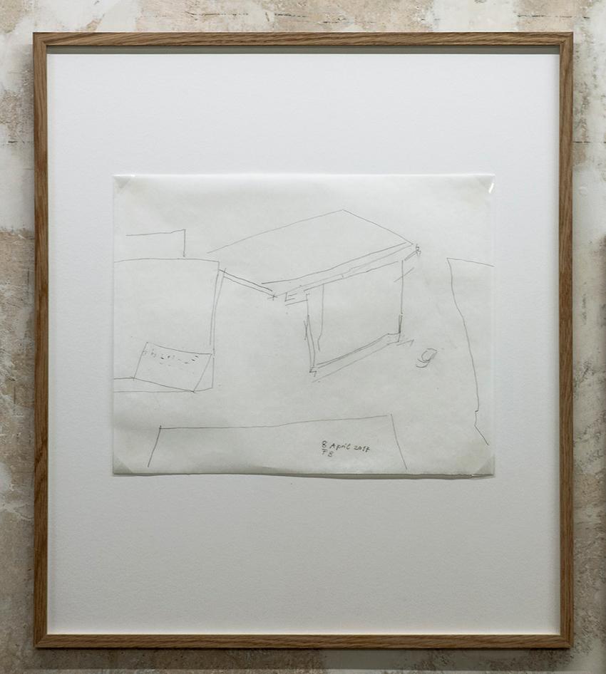 Florian Beigel,  Still life 16_170408 , 2017, pencil on greaseproof paper, 297 x 375 mm