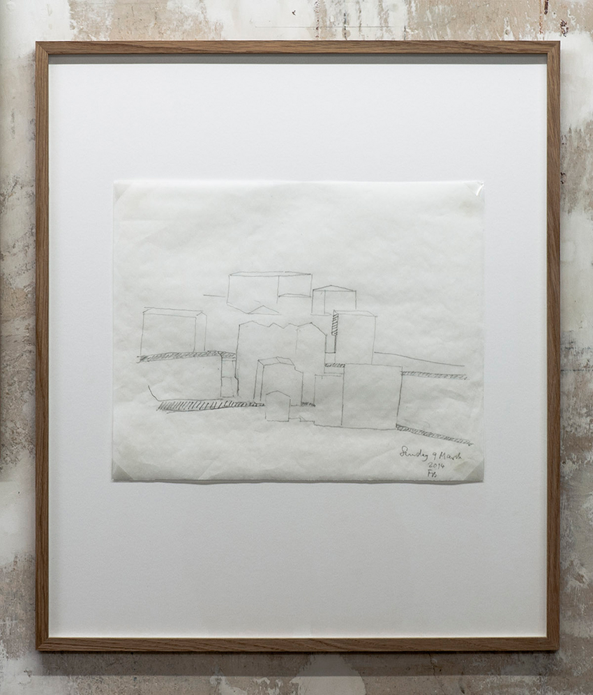 Florian Beigel,  104 Village 02_140309 , 2014, pencil on greaseproof paper, 300 x 375 mm
