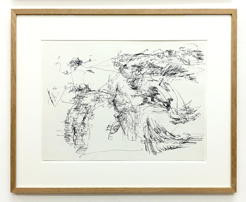 Freigeregelte apparative Zeichnungen (Untitled No.1) , 1990, magnetically manipulated plotter drawing / ink on paper, 45.5 x 58 cm