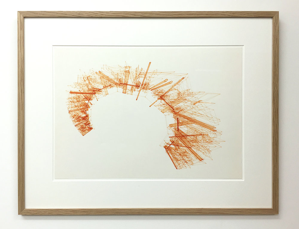 Computerzeichnungen (Untitled No.5) , 1989, plotter drawing-ink on paper, 45.5 x 58 cm