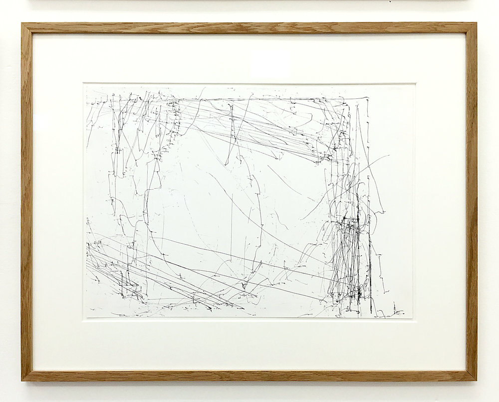 Freigeregelte apparative Zeichnungen (Untitled No.3) , 1990, magnetically manipulated plotter drawing / ink on paper, 45.5 x 58 cm