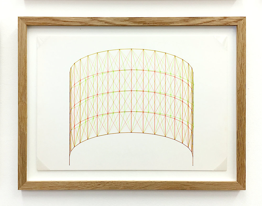 Anaglyph 3D drawing (Untitled No.6) , 1988, plotter drawing-ink on paper, 26.5 x 35 cm