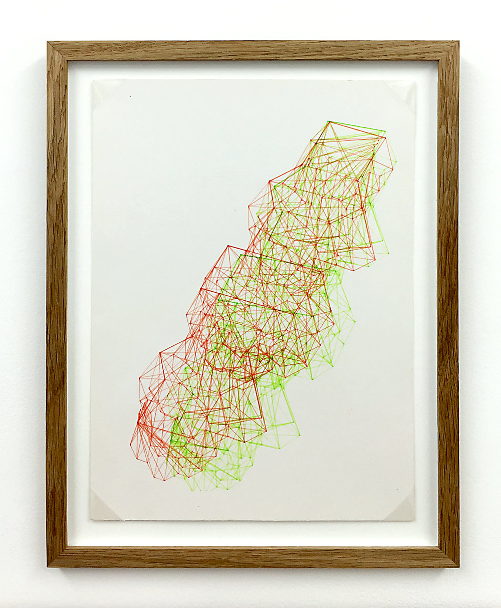 Anaglyph 3D drawing (Untitled No.7) , 1988, plotter drawing-ink on paper, 35 x 26.5 cm