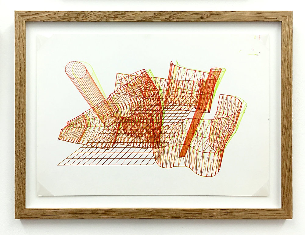 Anaglyph 3D drawing (Untitled No.8) , 1988, plotter drawing-ink on paper, 26.5 x 35 cm