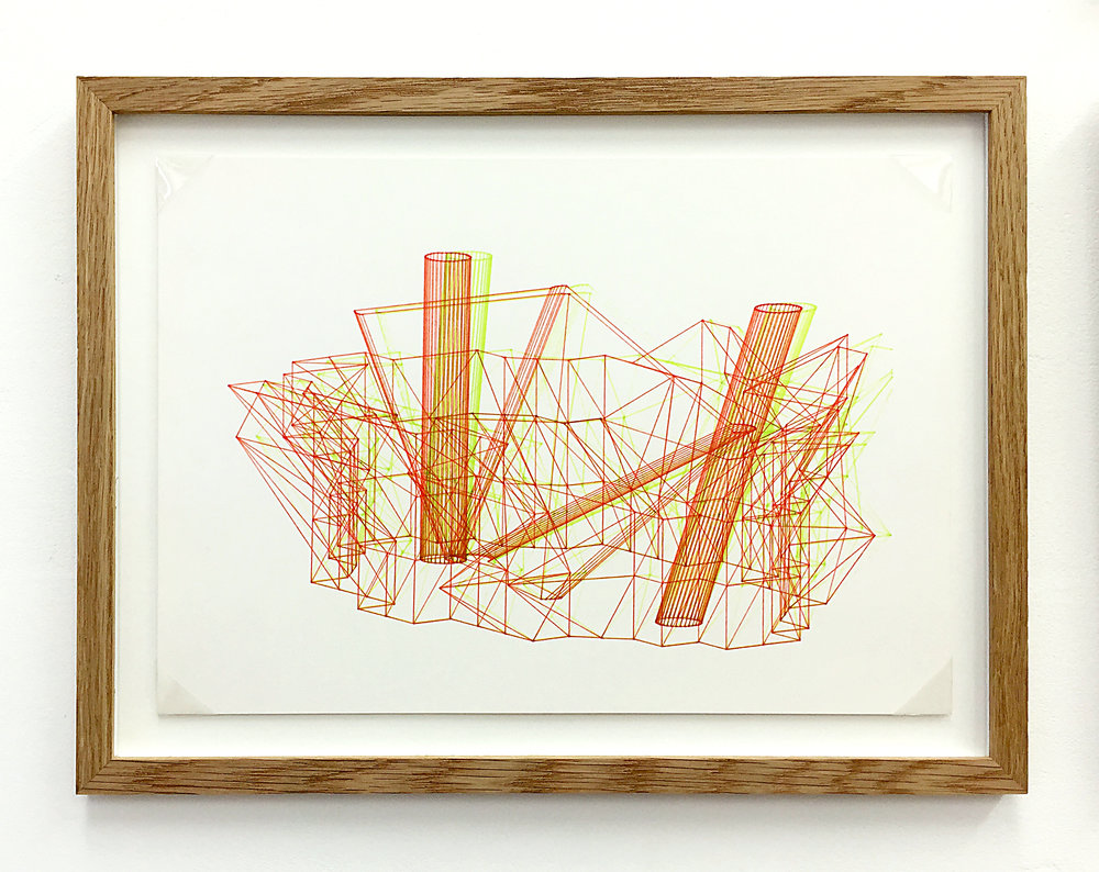 Anaglyph 3D drawing (Untitled No.5) , 1988, plotter drawing-ink on paper, 26.5 x 35 cm