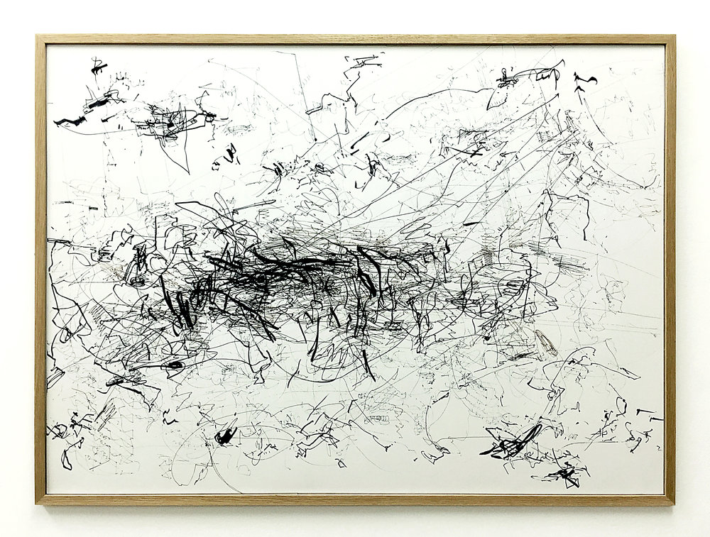Freigeregelte apparative Zeichnungen (Untitled No.10) , 1990, magnetically manipulated plotter drawing / ink on paper, 63.5 86.5 cm