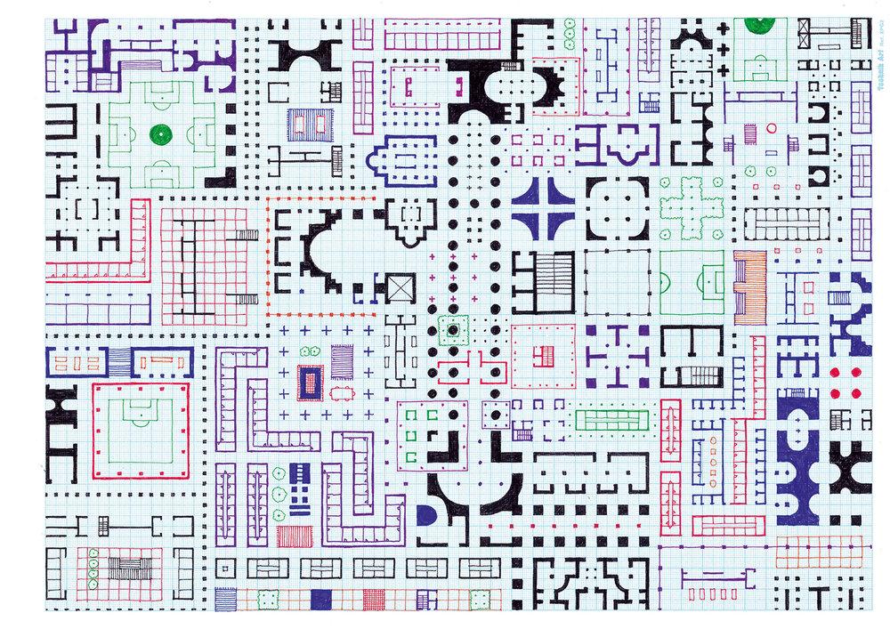 Empire of Ice Cream No.8 , 2018 ink on graph paper 29.7 x 42 cm