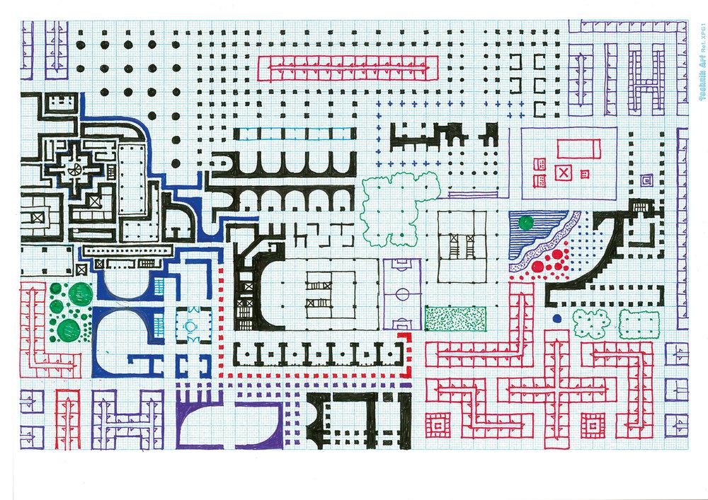 Empire of Ice Cream No.2 , 2011  ink on graph paper 21 x 29.7 cm
