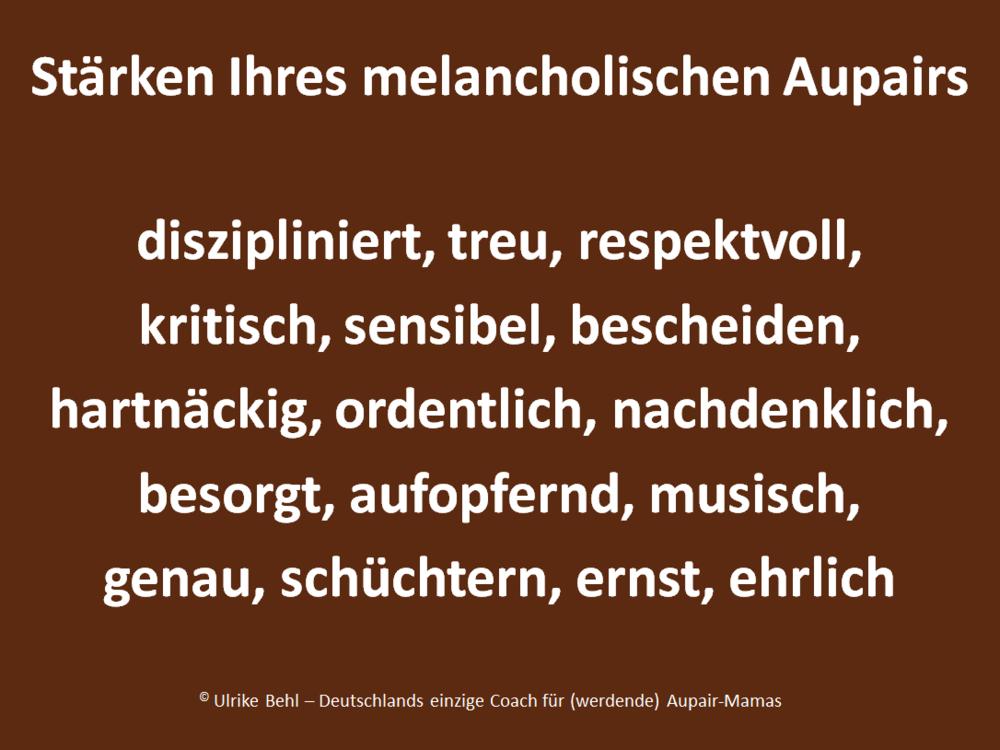 Aupairtyp Melancholiker BEHL ! COACHING