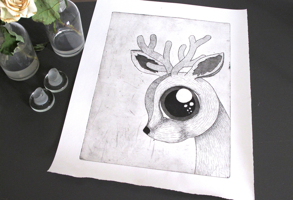 An etching of a Dear Deer.