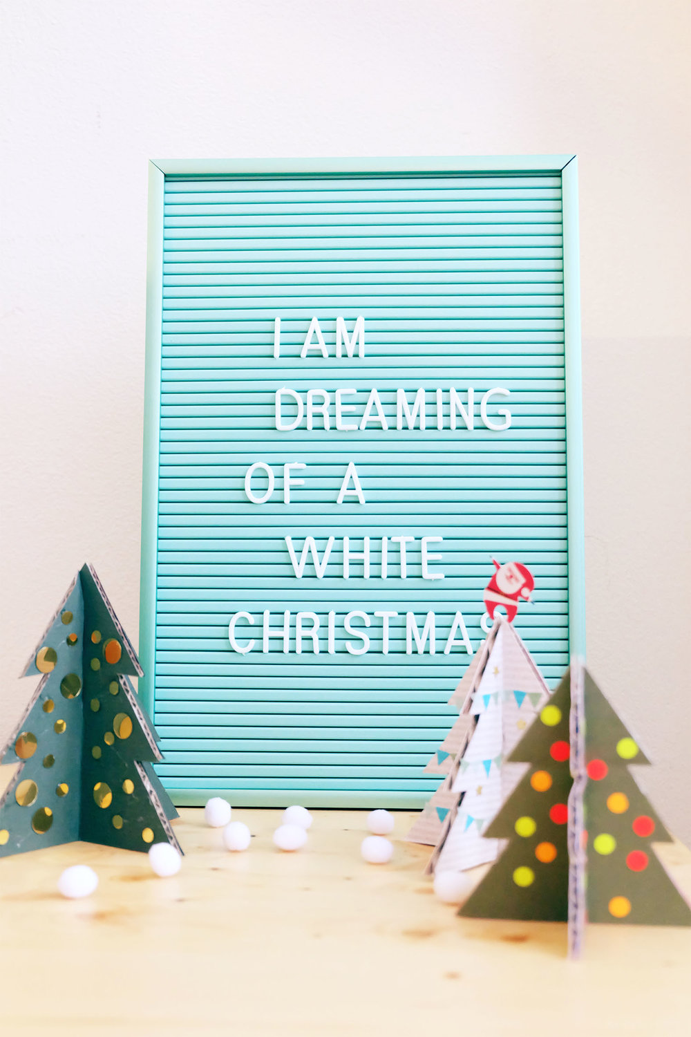 White Christmas with cardboard christmas tree DIY